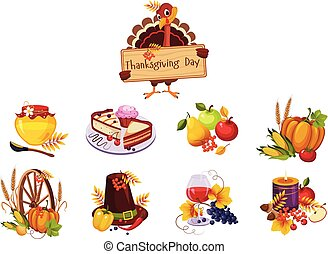 Thanksgiving day traditional dishes set, turkey holding wooden signboard vector Illustration on a white background