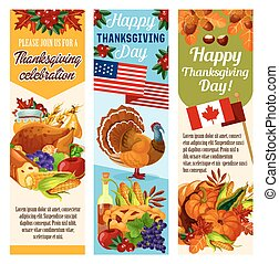 Thanksgiving day vector Canadian banners