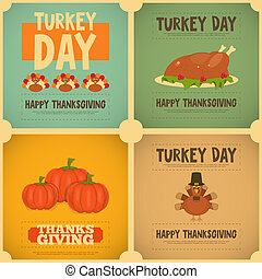 Thanksgiving Day. Vintage Posters Set with Cartoon Turkey....