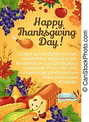 Thanksgiving day vector greeting poster
