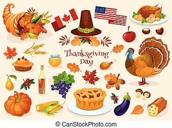 Thanksgiving day. Vector isolated icons - Thanksgiving day....