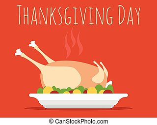 Thanksgiving Day with turkey vector illustration