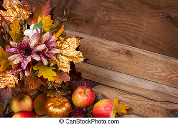 Thanksgiving decor with fall golden leaves