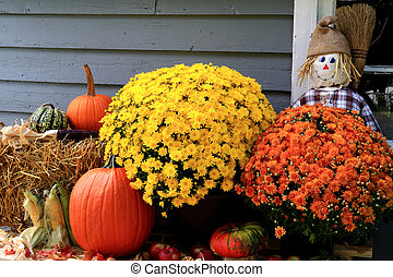 Thanksgiving Decoration - Arrangement from Flowers, Bale of...