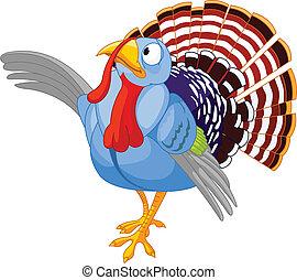 thanksgiving, dessin animé, presen, turquie