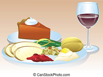 Thanksgiving dinner - Illustration of a thanksgiving dinner...