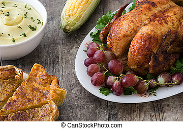 Thanksgiving dinner on rustic wood