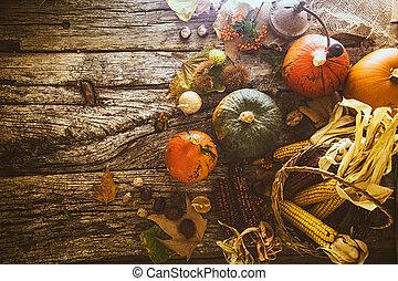 Thanksgiving dinner on wood - Thanksgiving dinner. Autumn...