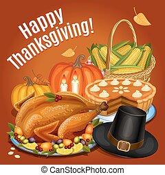 Thanksgiving dinner, roast turkey on platter with garnish, ...