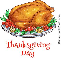 Thanksgiving dinner roasted turkey element