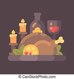 Thanksgiving dinner with candles flat illustration. Roasted turkey and wine