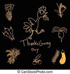 Thanksgiving doodle set vector art