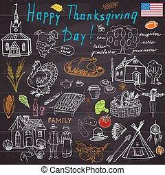 Thanksgiving doodles sketch set.