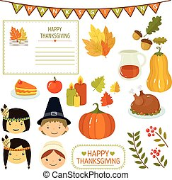 Thanksgiving Elements in Flat Style, Vector Illustration