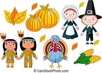 thanksgiving, ensemble, icône