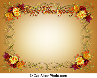 Image and Illustration composition of colorful fall flowers for Thanksgiving invitation, border or background with copy space.