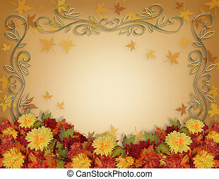 Image and illustration composition for Thanksgiving, Fall, Autumn Leaves Frame , page border or template