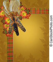 Image and Illustration composition of colorful mums, Indian corn and fall leaves for Autumn, Thanksgiving, Halloween, card, stationery, invitation, border or background with copy space