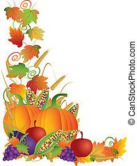 Thanksgiving Day Fall Harvest Pumpkin Eggplant Grapes Corns Apples with Leaves and Twine Border Illustration