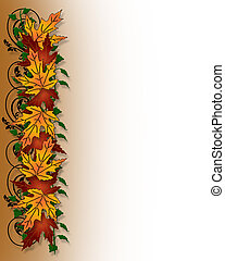 Thanksgiving Fall Leaves Border - Illustration composition ...