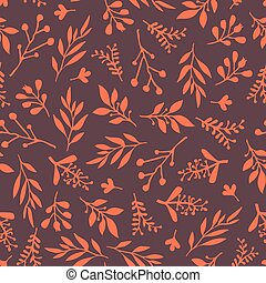 Thanksgiving Fall leaves seamless vector background. Orange leaves on purple background. Abstract nature pattern. Autumn Doodle foliage leaf print. Thanksgiving, Seasonal fabric, November, card, paper
