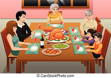 Thanksgiving Family Dinner Illustration