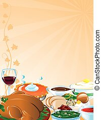 Thanksgiving Feast background or border