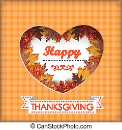 Thanksgiving Foliage Heart Hole - Thansgiving design with...
