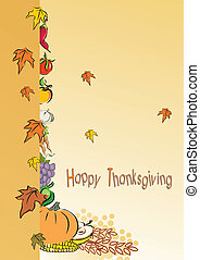 thanksgiving foliage or greeting card, vector illustration