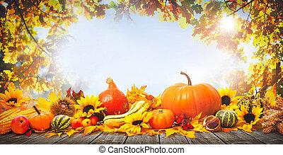 thanksgiving, fond, à, potirons