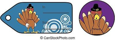 thanksgiving funny turkey cartoon giftcard in vector...