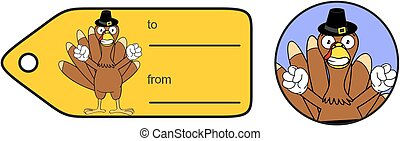 thanksgiving funny turkey cartoon giftcard in vector...