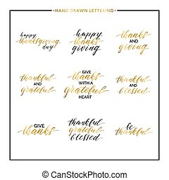 Thanksgiving gold lettering set