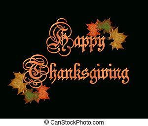 Thanksgiving graphic on black Thanks