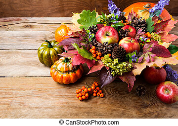 Thanksgiving greeting background with ripe apples, blue flowers