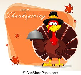 Thanksgiving greeting card with a turkey bird