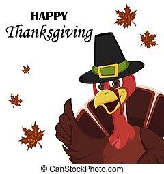 Thanksgiving greeting card with a turkey bird wearing a Pilgrim hat.