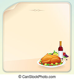 Thanksgiving Greeting Card with Roasted Turkey, Fruits and...