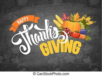 Thanksgiving greeting design with pumpkin, other vegetables...