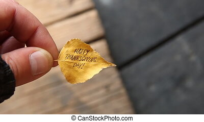 thanksgiving greeting - leaf with text - Happy Thanksgiving...