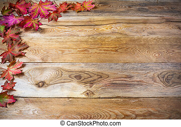 Thanksgiving greeting with fall maple leaves on rustic wooden background