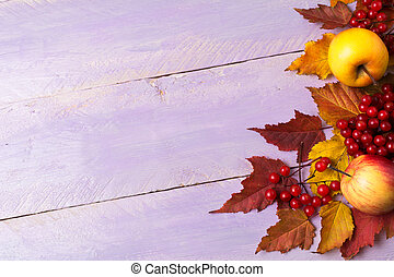 Thanksgiving greeting with viburnum, red leaves, copy space
