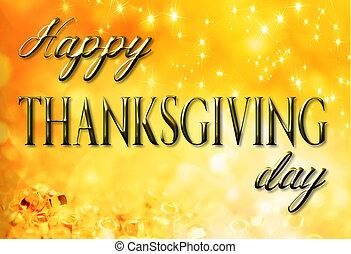 thanksgiving greetings on holiday gold background