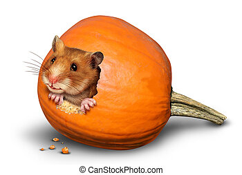 Thanksgiving harvest symbol with a fun mouse like rodent or...