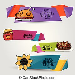 Thanksgiving horizontal banner set. Happy holiday background. Turkey day sale design with icons. Vector illustration.