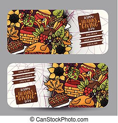 Thanksgiving horizontal banner set with round corners. Happy holiday background. Turkey day sale design. Vector illustration.