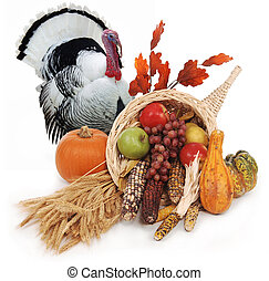 horn of plenty with autumn harvest of leaves, wheat pumpkin, squash, corn, apples, pear and grapes