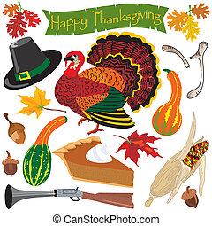 thanksgiving, icônes, clipart