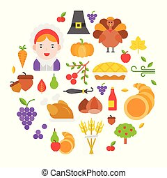 Thanksgiving icon arrange as circle shape for use as cover,background,wallpaper,backdrop.flat design