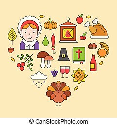 Thanksgiving icon arrange as heart shape for use as cover, background, wallpaper, backdrop